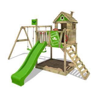 FATMOOSE Spielturm Klettergerüst RockyRanch mit Schaukel & apfelgrüner Rutsche, Stelzenhaus mit Sandkasten, Leiter & Spiel-Zubehör