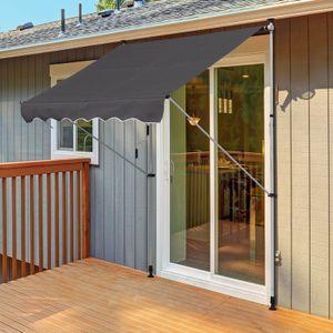 Outsunny Markise Gelenkarmmarkise Klemmmarkise 0°-90° einstellbar 1,7-2,8 m höhenverstellbar Sonnenschutz Faltarm Handkurbel Balkon Alu Grau 200 x 150 cm