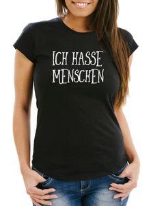 Damen T-Shirt Ich hasse Menschen Spruch Fun-Shirt Moonworks® schwarz M