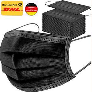 100 Stück schwarze Einweg-Gesichtsmasken, atmungsaktiv, Staubmaske, dehnbare elastische Ohrschlaufen.