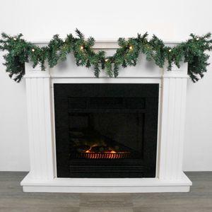 Weihnachtsgirlande 2,7m 180 Spitzen Grün mit Lichterkette 20 warmweiße Lichter
