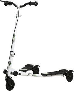 Kinder Scooter Roller Cityroller 3-Räder Y-Wiggle höhenverstellbarer Fun-Scooter Weiß/Schwarz