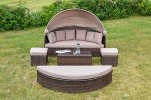 """Merxx LD241156 Garten Relaxinsel """"Riva"""" Sitzinsel Lounge Set, mit ca. 8 mm Flachband und Kissen ; Farbe: Braun"""