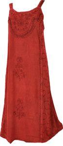 Besticktes Indisches Sommerkleid Boho Chic - Rot, Damen, Viskose, Lange & Midi-Kleider
