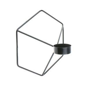 Wandkerzenhalter 3D geometrischer Teelichthalter Kerzenhalter Wandleuchter Schwarz 21x18,5 cm