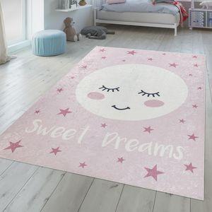Kinderzimmer Teppich Mädchen Waschbar Schlafender Mond Süßer Spruch Rosa Weiß, Größe:140x200 cm
