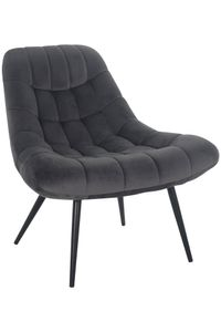SalesFever Loungesessel mit XXL-Sitzfläche | Bezug Stoff in Samt-Optik | Gestell Metall schwarz | üppige Steppung | B 76 x T 87 x H 86 cm | grau