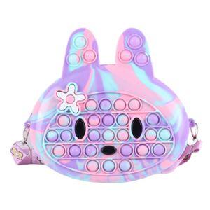 Push-It Pop Fidget Spielzeug Bubble Plush Tasche Anti-Stress Kaninchen Handtasche Umhängetasche