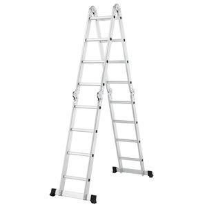 Juskys Aluminium Multifunktionsleiter 4x4 Stufen - 4,7 m Länge klappbar – Leiter 4-teilig bis 150 kg - Gelenkleiter Klappleiter Stehleiter Aluleiter
