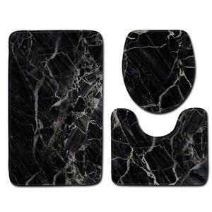 3 Stück Badematten Set, Bad Teppiche Weiches Wasser saugfähig WC Badezimmer Teppich Rutschfest Ständer Motiv: Schwarz Marmor