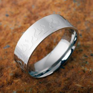 Edelstahl Ring mit Flammen, Ringgrösse:58 (18.4 mm Ø)