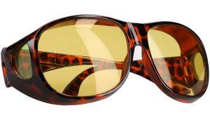 Nachtsichtbrille Nachtfahrbrille Blendschutz zum Autofahren Polarisiert Überziehbrille Braun