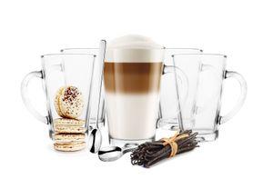 Sendez 6 Latte Macchiato Gläser 300ml  mit Henkel  und 6 Edelstahl-Löffel Kaffeegläser Teegläser