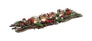 Adventskranz / Adventsgesteck länglich inkl. Dekoration ca. 63cm