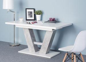 Mirjan24 Esstisch Alvaro, Stilvoll Ausziehbar Esszimmertisch, Design Tisch, Esszimmer (Farbe: Weiß + Beton)