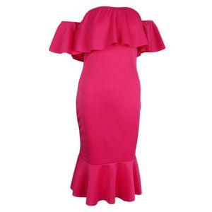 sexy aus der Schulter Rüschen Bodycon Kleid Meerjungfrau Midi Kleid l Rose