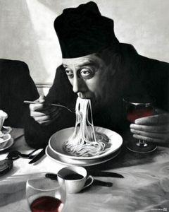 Kochkunst Poster Kunstdruck - Spaghetti, Rotwein, Don Camillo (50 x 40 cm)