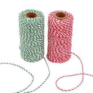 Bäckerschnur Grün Rot und Weiß 200M, Bastelschnur Baumwollkordel Schnur Bindfäden Kordel 1 Rolle, Metzgerschnur/Gartenschnur/Bäcker Schnur Baumwollschnur für Weihnachten Geschenkverpackung