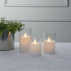 LED Kerze/Windlicht 'Twinkle' - Echtwachs - mechanische Flamme - Timer - H: 15cm - weiß