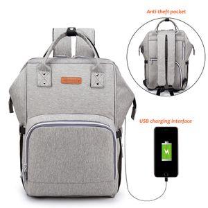 Wasserdichtes Stilvolles Multifunktions-Reisegepäck mit großer Kapazität, Mutterschafts-Babywindel-Wickeltaschen mit USB-Ladeanschluss - Grau