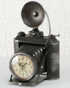 Boltze Tischuhr Fotoapparat 33cm Uhr Standuhr Eisen schwarz Foto