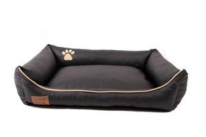 Hundebett Kunst Leder Hundekorb Dollaro Schwarz XL 100 x 80 cm Hundesofa Katzenbett Mayaadi Home