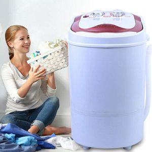 Mini Waschmaschine 54x35x34cm Vollautomatisch mit Schleuder Wäscher Waschautomat bis 6KG (Rosa)