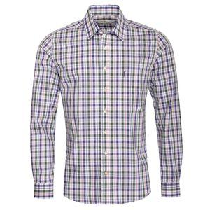 Trachtenhemd Hubert Slim Fit zweifarbig in Lila und Dunkelgrün von Almsach, Größe:L, Farbe-Zweifarbig:Lila / Tanne