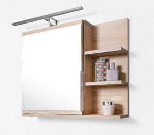 Badezimmer Spiegelschrank mit Ablagen und LED Beleuchtung, Badezimmerspiegel, Eiche Sonoma Spiegelschrank, R
