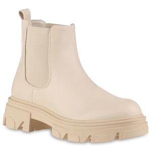 VAN HILL Damen Leicht Gefütterte Chelsea Boots Profil-Sohle Schuhe 837818, Farbe: Beige, Größe: 38