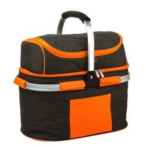 SVITA Picknickkorb 25l Thermo Einkaufskorb mit Kühlfunktion Kühlbox Kühltasche Grau