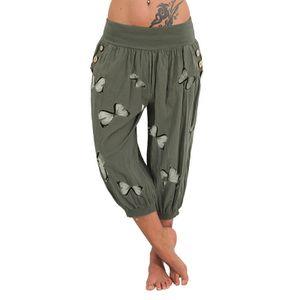 Damen Mid-Rise Turn Up Hose Sommer Strandhose Mit Blumen-Schmetterlings-Print,Farbe:Grün,Größe:M