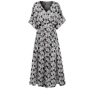 Summer Fashion Blumendruck Kleid mit hoher Taille, geteiltes Kleid aus Polyester mit Fledermausärmeln
