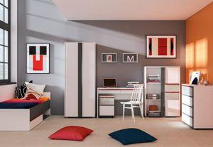 Jugendzimmer Komplett - Set G Connell, 8-teilig, Farbe: Weiß / Anthrazit / Hellgrau