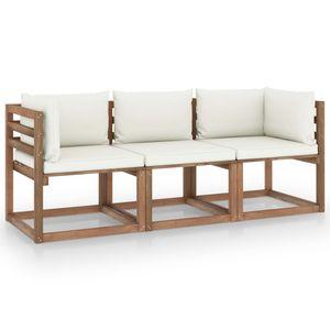 vidaXL Garten-Palettensofa 3-Sitzer mit Kissen Cremeweiß Kiefernholz