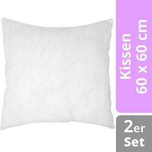 2er Set Kissen 60 x 60 cm - Füllkissen aus Polyester  Kissenfüllung - ideal als Dekokissen, Zierkissen, Kopfkissen
