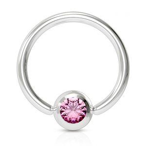 viva-adorno 1,2x8x3mm Universal Piercing Ring BCR Kristall Lippenring Klemmring Septumpiercing Brustpiercing Chirurgenstahl Z507,pink