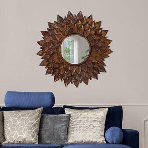 WOMO-DESIGN Dekorative Wandspiegel Sonnenblume Rio de Janeiro Ø 74 cm aus Glas, Metallrahmen Braun, Runder Spiegel, Moderner Dekospiegel, Design Hängespiegel, Wandbehang Flurspiegel Schminkspiegel