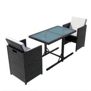 Huicheng Poly Rattan 3-tlg. Balkonmöbel Sitzgruppe Gartenmöbel Set Schwarz Glastisch + 2x Rattansessel + Auflagen