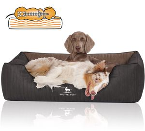 Knuffelwuff Orthopädisches Hundebett Outback aus laser-gestepptem Kunstleder XL 105 x 75cm Schwarz/Braun