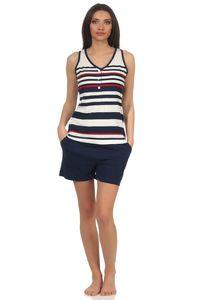 Maritimer Damen Achselhemd Shorty Pyjama kurzarm in Streifenoptik und mit Knopfleiste, Farbe:marine, Größe:36/38