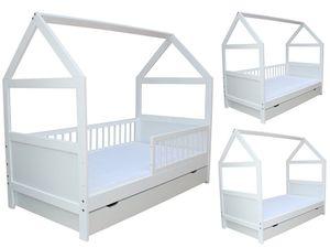 Kinderbett / Juniorbett Haus 160x70 cm incl. Matratze und Schublade weiss