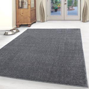 Kurzflor Teppich Einfarbig Robust Gabbeh Optik Wohnzimmerteppich Grau Meliert, Grösse:160x230 cm