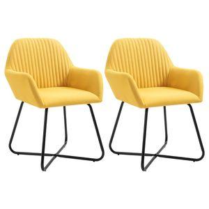 Esszimmerstühle 2 Stk. Gelb Stoff