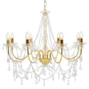 vidaXL Kronleuchter mit Perlen Golden 8 x E14-Fassungen