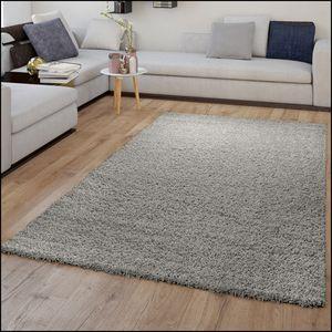Shaggy Teppich Hochflor Grau Wohnzimmer Schlafzimmer Weich Flauschig Kuschelig, Größe:60x100 cm