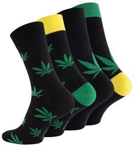 """Vincent Creation® Cannabis Socken 4 Paar,  Weed Socks """"365 High"""" Bunt 43-46"""