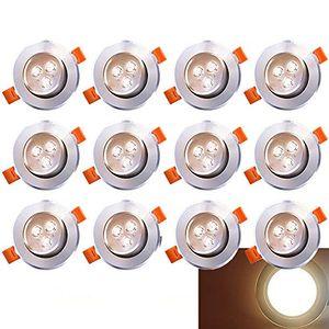 karpal LED Einbau-Strahler Inkl. 12 x 3W LED Einbaustrahler 230V Deckenstrahler Schwenkbar Einbauleuchte Warmweiss Deckeneinbaustrahler Einbauspot