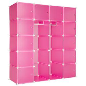 tectake Steckregal 12 Boxen mit Türen inkl. Kleiderstangen - pink