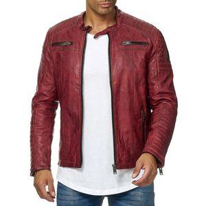 RedBridge Herren Kunst Leder Jacke Biker Look Geteppt Slimfit leicht gefüttert M6013, Grösse:XL, Farbe:Dirty Red